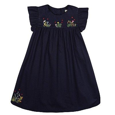 Vestido Jardim dos Corações Azul Marinho - Bordado a Mão