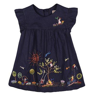 Vestido Brincadeira de Criança Bordado a Mão - Azul Marinho