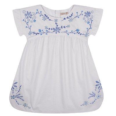 Vestido de Linho Branco Mil Flores - Bordado a Mão