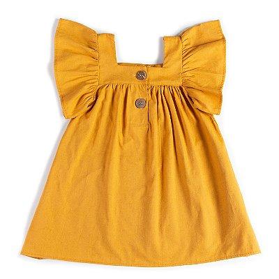 Vestido Linho Mostarda