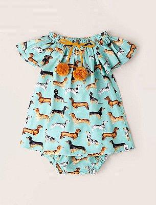 Vestido Baby Pompom Salsichinha
