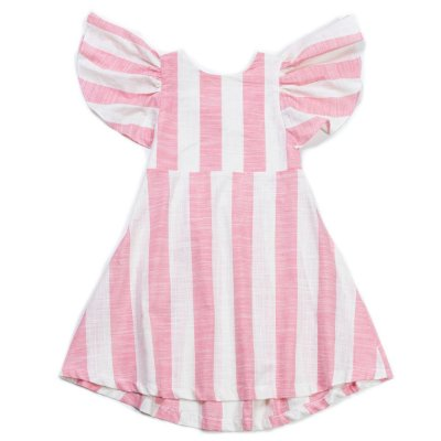 Vestido Midi Listrado Rosa Antigo