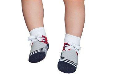 Meia Sapato Tênis Listrado