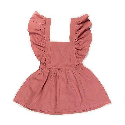 Vestido Jardineira Rosa Antigo