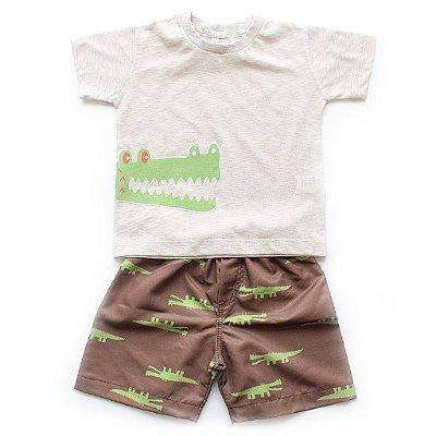 Conjunto T-shirt + Bermuda Microfibra Jacaré