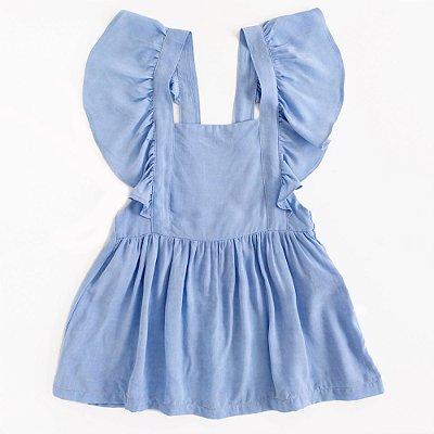 Vestido Tie Dye Jardineira Azul Denim