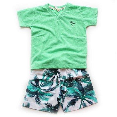 Conjuntinho T-shirt + Bermudinha Tropical