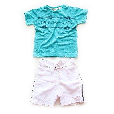 Conjunto T-shirt + Bermuda Microfibra Peixe