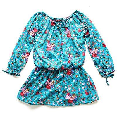 Vestido Manga Comprida Florzinhas