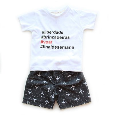 Conjunto T-shirt + Bermuda Microfibra Freedom