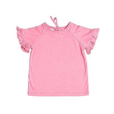 T-shirt Babado Rosa Chiclé