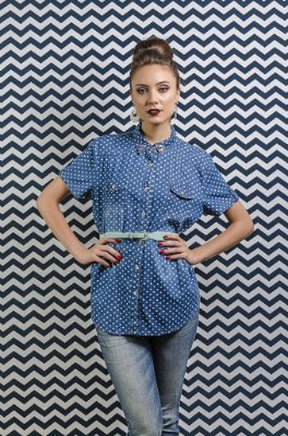 Camisa Denim Hearts Bordada