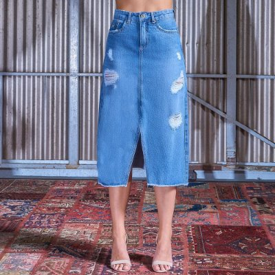 Saia Longa Jeans Com Abertura