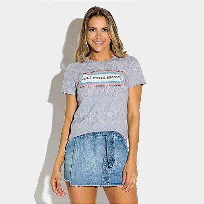 T-shirt Feminina Estampada - Mescla