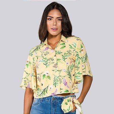 Camisa Feminina Cropped Estampada