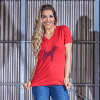 Camiseta Feminina Decote V Estampada