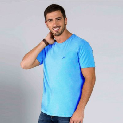 Camiseta Masculina Básica Azul Claro