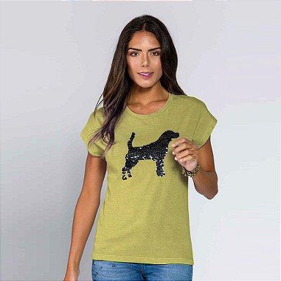 Camiseta Feminina Paetê