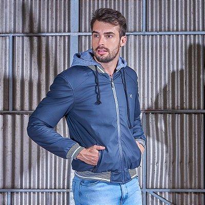 Jaqueta Masculina Com Capuz Azul Escuro