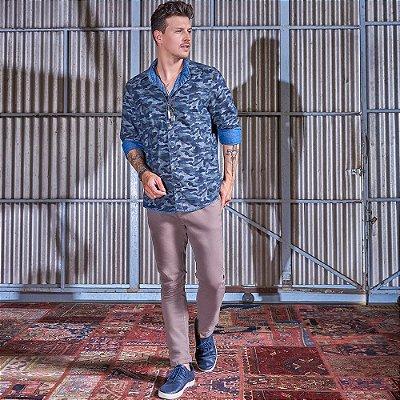 Camisa Masculina Dupla Face Jeans Camuflado