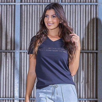 T-shirt Feminina Estampa Metalizada