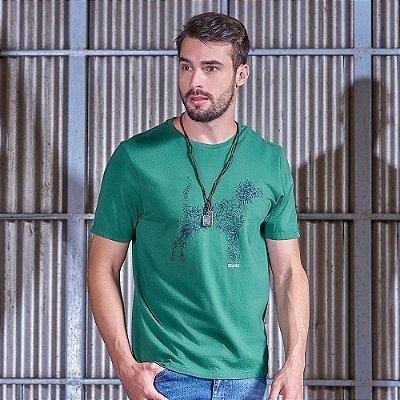 Camiseta Masculina Estampa Beagle Verde