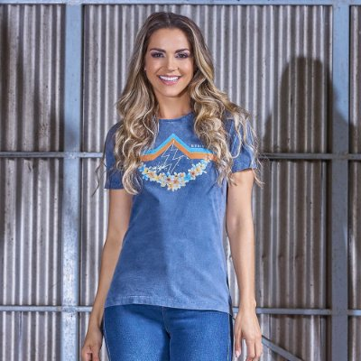Camiseta Feminina Stonada Floral