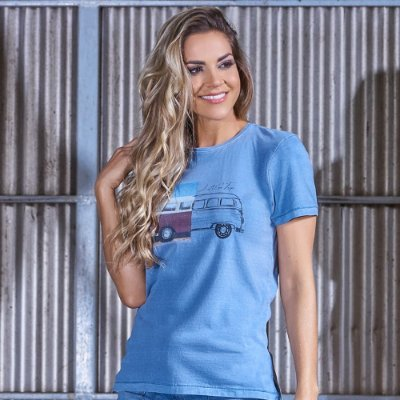 Camiseta Feminina Kombi Azul