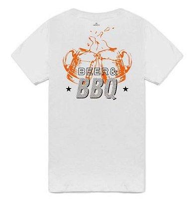 Camiseta Bárbaros Beer & BBQ Branca