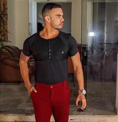 Camisa Spoiller Henley Moletinho Preto TS183