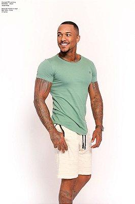 Camiseta Semi Long Zikani Algodão Verde 80042