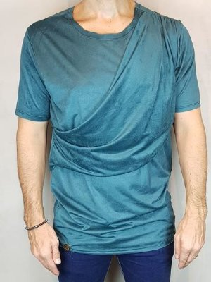 Camisa T-Shirt  Chamoa Veludo Teselli by linha Spoiler Petroleo