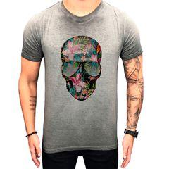 Camiseta Teselli by Paradise Caveira Cinza