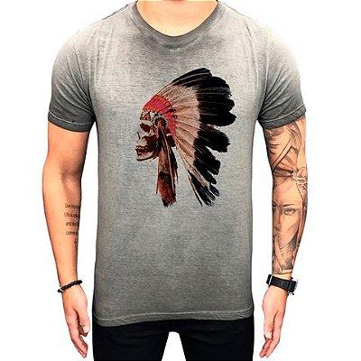 Camiseta Teselli by Paradise Headress Skull Cinza