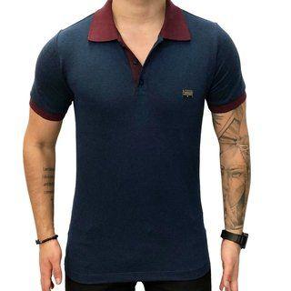 Camisa Polo Teselli by Paradise Marinho/Bordô