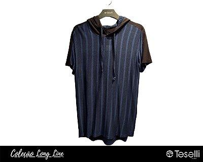 Camisa Long Line Pargan Riscas com Capuz 9601