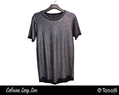 Camisa Long Line Pargan Fashion Preta