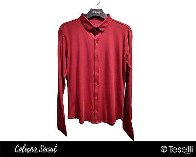 Camisa Social Malha Algodão Pima Vermelha com Elastano