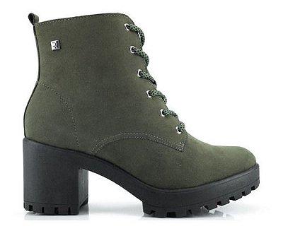 Bota Coturno Ramarim Ankle Boot Camurça Verde Musgo 2056101
