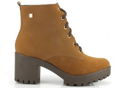 Bota Coturno Ramarim Ankle Boot Camurça Camel 2056101