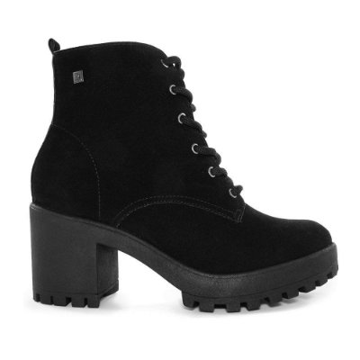 Bota Coturno Ramarim Ankle Boot Camurça Preto 2056101