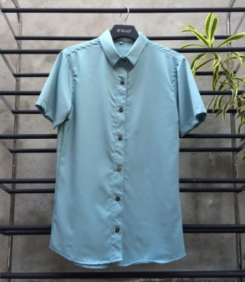 Camisa Viscolinho Spoiler  M/C Slim Fit Verde Aqua SP013