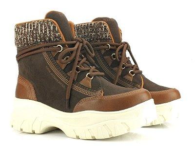 Bota Coturno Ramarim Sneaker Boot Marrom 2186132