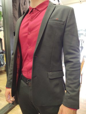 Blazer Docthos Malha Lisa Premium Preto Slim Fit
