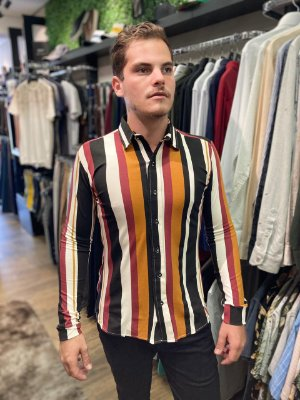 Camisa Listras Gola Padre Exalt Multicolor
