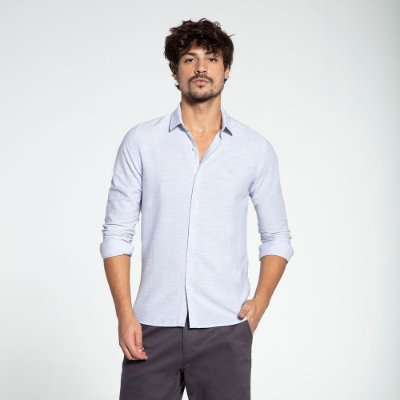 Camisa Social Docthos M/L Tricoline Grid Mescla 839836
