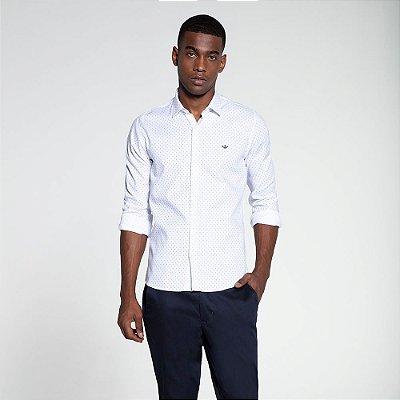 Camisa Social Docthos M/L Tricoline Estampa Branco 839797