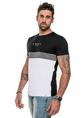 Camiseta T-Shirt Arêdu Stile Algodão c/ Elastano Branco/Preto
