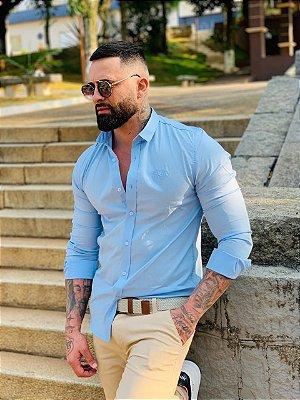 Camisa Social Premium Algodão c/ Elastano Azul