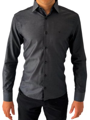 Camisa Social Chumbo Tecido Premium 100% Algodão